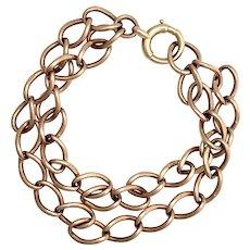 Antique 9K Rose Gold Double Chain Bracelet