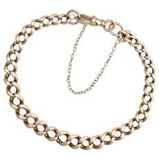Antique 9K Rose Gold Graduated Curb Chain Bracelet