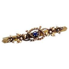 1898 Victorian 9K Gold Sapphire Lovers Knot Brooch