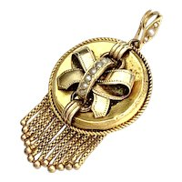 Antique Victorian 15K Gold Tassel Locket Pendant with Seed Pearls
