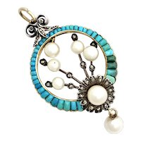 Victorian Pavé Turquoise, Diamond and Pearl 18K Gold Pendant