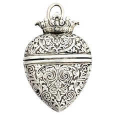 French Victorian Silver Heart Vesta Locket Pendant