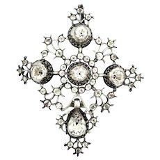 French Georgian Black Dot Paste Cross Pendant
