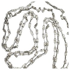 Antique Victorian Very Long Silver Guard Chain withFlower Links