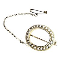 Victorian 9K Gold Seed Pearl Halo Brooch