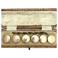 Boxed Set of 6 Antique 9K Rose Gold Mother of Pearl Dress Buttons