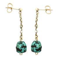 Vintage 9K Gold Turquoise and Seed Pearl Earrings