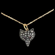 RESERVED FOR CT • Diamond, Ruby, Silver and 9K Gold Fox/Wolf Pendant Necklace