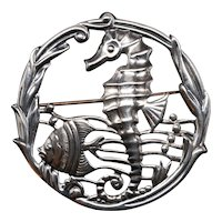 Sterling Silver Seahorse Under the Sea Brooch
