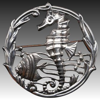 Sterling Silver Seahorse Under the Sea Brooch