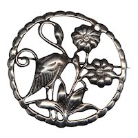 Beautiful Large Sterling Silver Brooch with Wading Bird