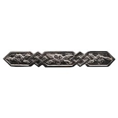 Bold Geometric and Floral Sterling Silver Bar Pin