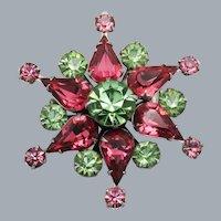 Coro Sparkling Pink and Green Rhinestone Star Brooch