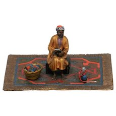 Excellent Vienna Bronze of Seated Arab on Carpet  with Books and Hookah.