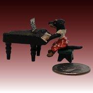 Vintage  Miniature Vienna Bronze of Dog Playing Piano