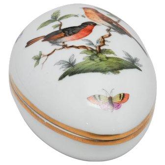 Herend Hungary Handpainted Egg Box - Rothschild Birds