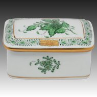 Herend Handpainted Trinket Box Chinese Bouquet Green
