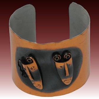 Rebajes Brazilian Tribal Masks Solid Copper Cuff Bracelet