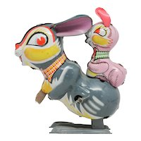 Wind Up Mechanical Jumping Rabbit with Baby Bunny, Mikuni, Japan
