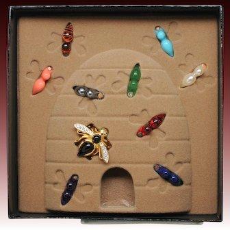 Joan Rivers Retired Interchangeable Bee Brooch Set