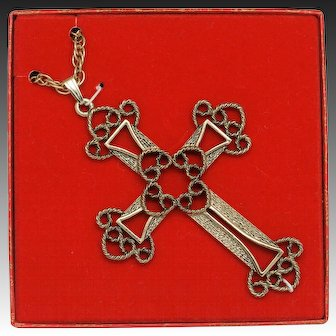 Sarah Coventry Limited Edition Cross Pendant on Chain 1973