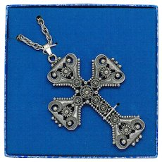 Sarah Coventry Limited Edition Cross Pendant on Chain 1974 - Red Tag Sale Item