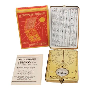Vintage Sunwatch Compass and Sundial by Outdoor Supply Co
