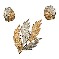 Trifari Rhinestone Leaves Set - Brooch and Clip Earrings