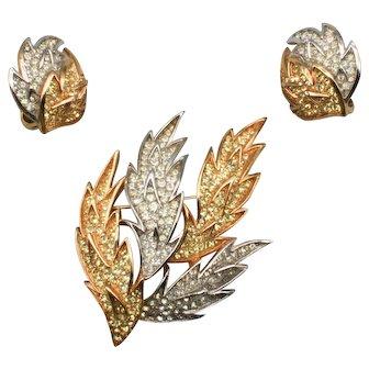 Trifari Rhinestone Leaves Set - Brooch and Clip Earrings