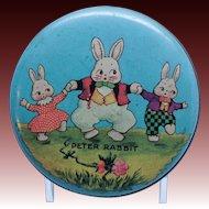 Vintage Tindeco Peter Rabbit Round Tin Box