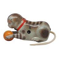 Vintage Kohler Tin Litho Wind Up Cat with Ball  U.S.Zone Germany