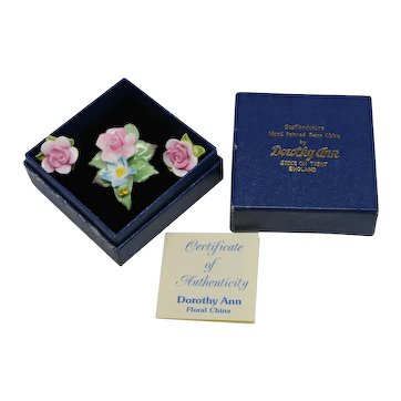 Dorothy Ann English China Floral Pin and Earrings Set