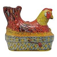 Clucking Egg Laying Chicken, Baldwin Mfg Co Tin Litho