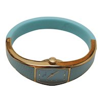 Yves Renoir 70s Working Bangle Watch in Beautiful Blue
