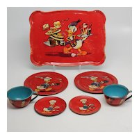 Ohio Art Donald Duck Tin Tea Tray and Two Cups/saucers/Plates