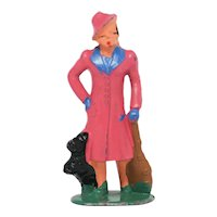 Barclay Lady with Dog Vintage Dime Store Figure