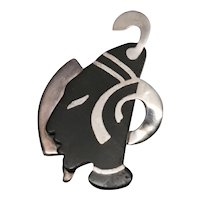 Onix Negro Los Castillo Taxco Sterling and Black Brooch