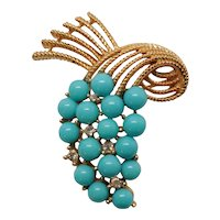 Trifari Goldtone Brooch with Faux Turquoise Beads and Rhinestones