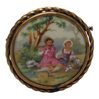 French Limoges Classic Courting Couple Scene Brooch