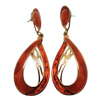 Designer Signed Vintage Edgar Berebi Enamel Dangle Hoop Pierced Earrings