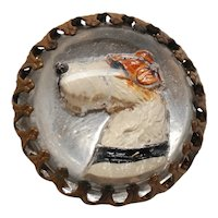 Reverse Painted Intaglio Terrier Dog Essex Glass Crystal Pin