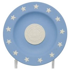 Wedgwood Blue and White Jasperware New Hampshire State Seal Pin Tray Dish