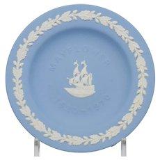 Wedgwood Blue and White Jasperware Mayflower Pin Tray Dish