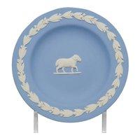 Vintage Wedgwood Blue Jasperware Zodiac Aries Ram Pin Tray Dish