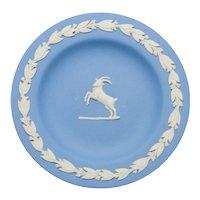 Vintage Wedgwood Blue Jasperware Zodiac Capricorn Goat Pin Tray Dish