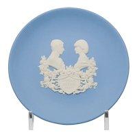 Wedgwood Blue and White Jasperware 4.5 inch Pin Tray Dish - Royal Birth 1982 in Original Box