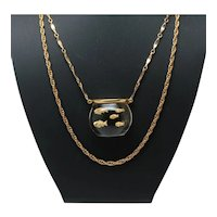 HMS for Castlecliff Clear Lucite Fish Bowl Double Chain Necklace