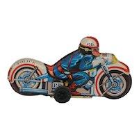 Vintage Toy Police Motorcycle Tin Friction Kyowa Japan