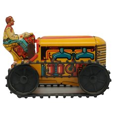 Marx Wind Up Climbing Tractor Vintage Toy