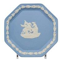 Wedgwood Blue and White Jasperware Octagonal Pin Tray Dish - Pegasus In Original Box
